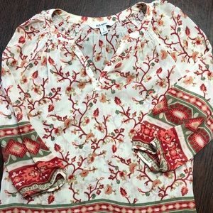 Old Navy Cream Red Peasant Top